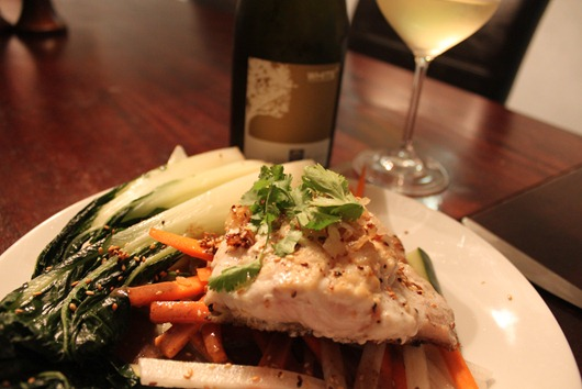 Grouper with Cucumber Salad and Soy-Mustard Dressing Paired With Vina Robles White Blend 2009