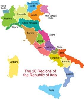 Italy Wine Map.